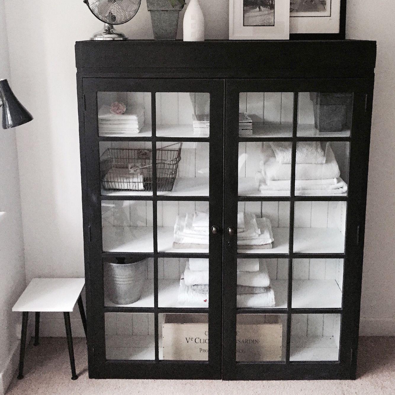 Antique black linen cupboard £565. www.livedandloved.co.uk - Antique Black Linen Cupboard £565. Www.livedandloved.co.uk