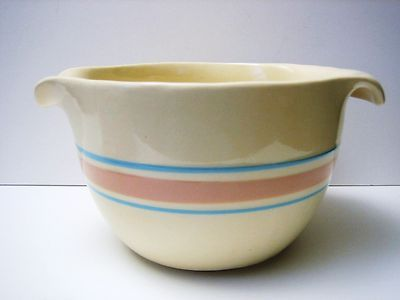 Mccoy Stoneware 129 Pink Blue Stripe 2 Quart Batter Bowl