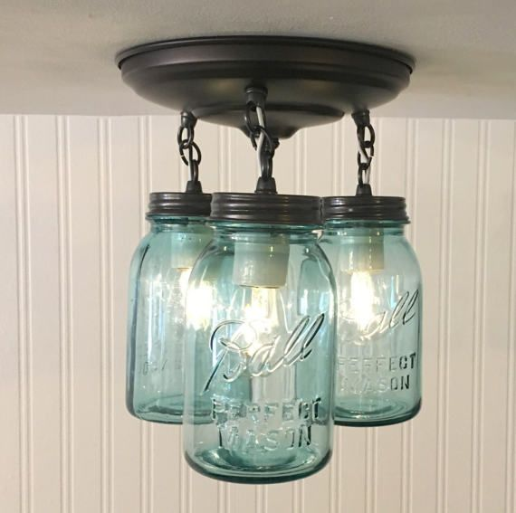 Blue Mason Jar Ceiling Lighting Fixture