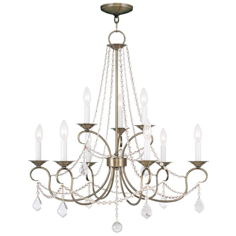 Livex Lighting 6519 Pennington 9 Light 2 Tier Chandelier With Crystal Accents Antique Br Indoor Chandeliers