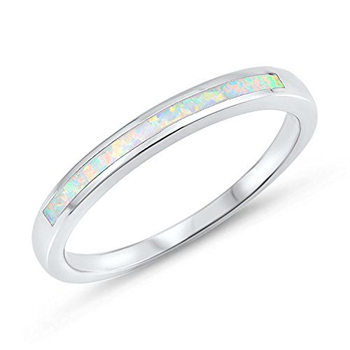 White Simulated Opal Wedding Ring New .925 Sterling Silve...