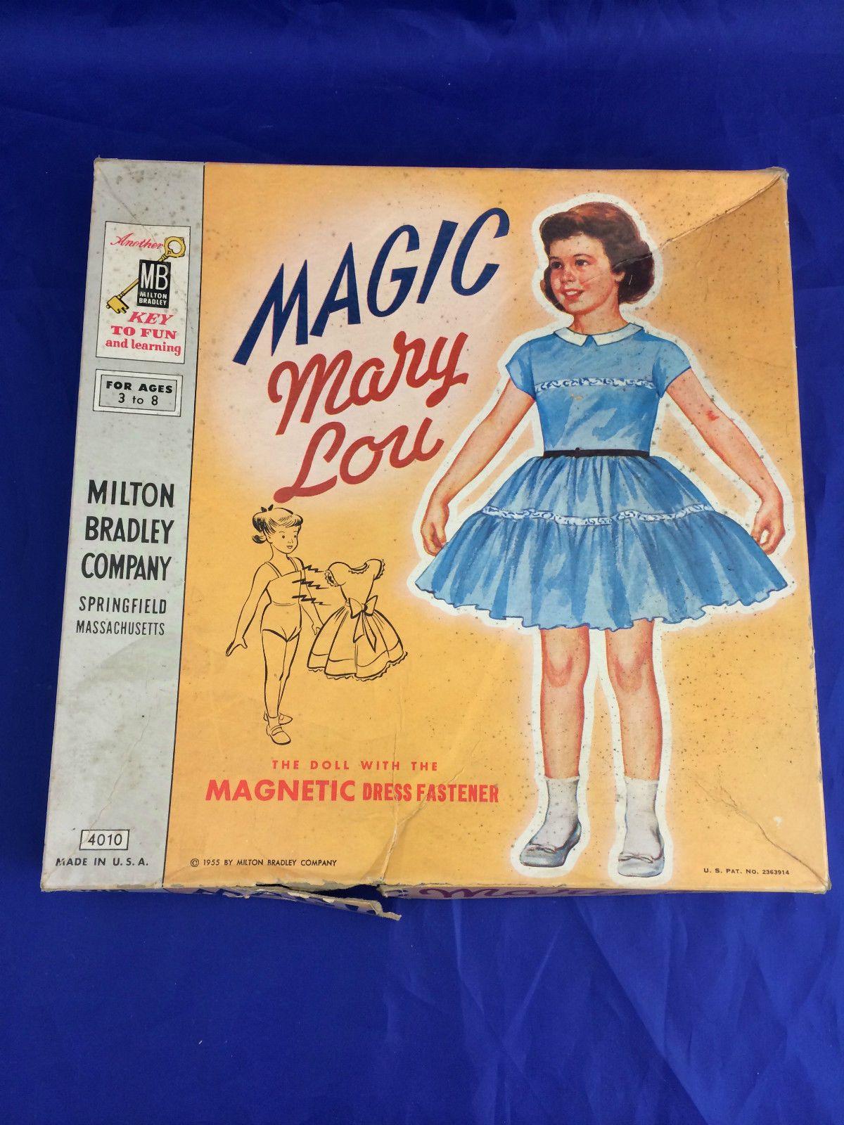 Original Vintage Paper Dolls Magnetic Magic Mary Lou 1955 by Milton Bradley | eBay