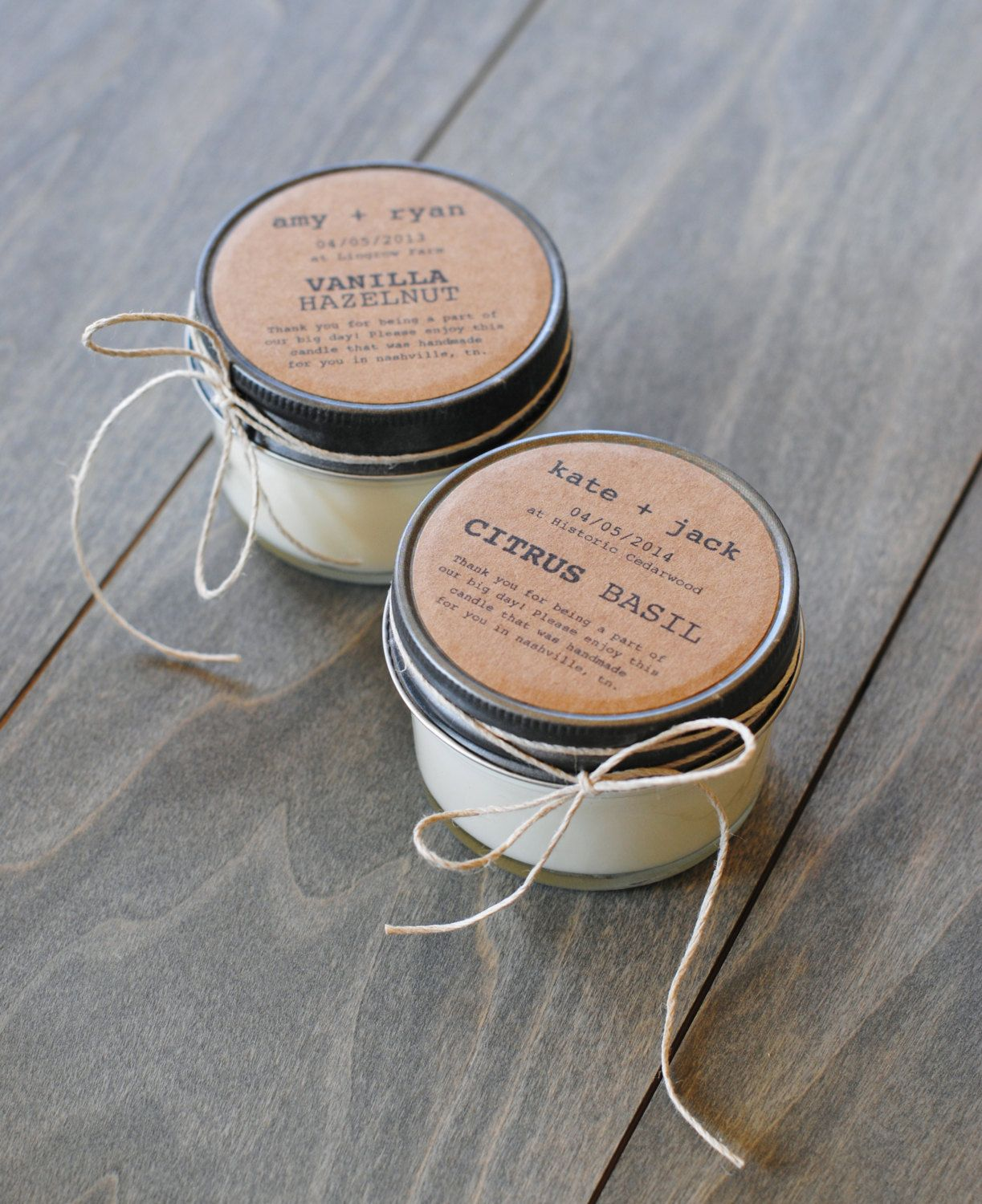 48 Eco-friendly Wedding Favors, Handmade Soy Candles With