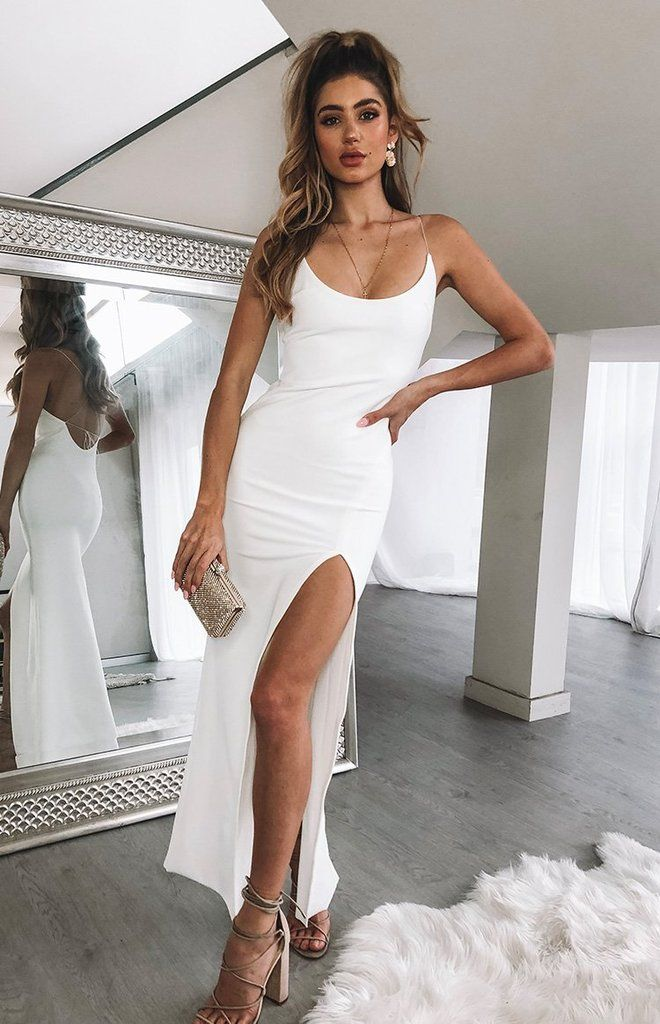 Formal dress shops, White dress outfit