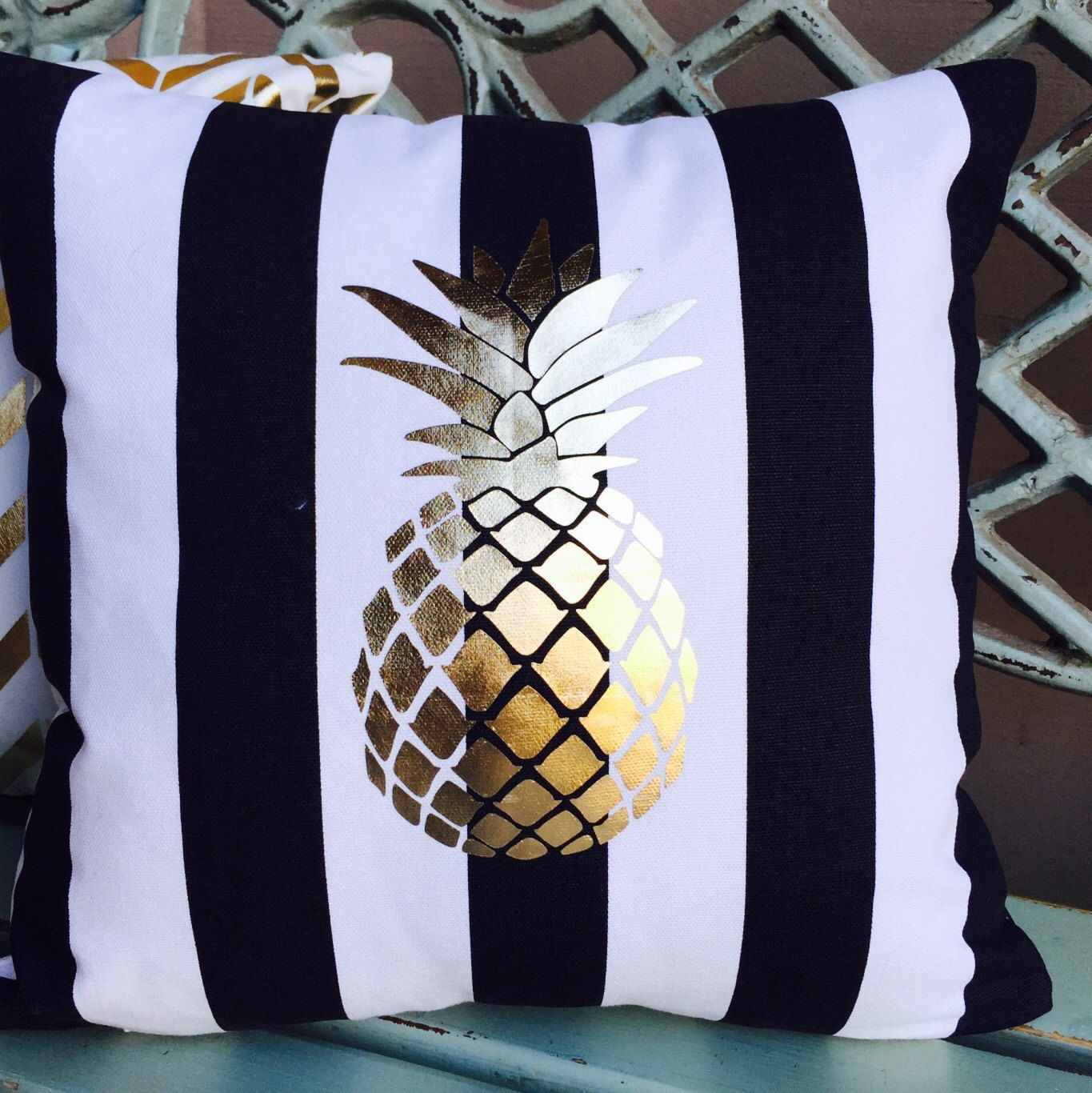 Gold Foil Pineapple On Black Amp White Stripes Pillow With