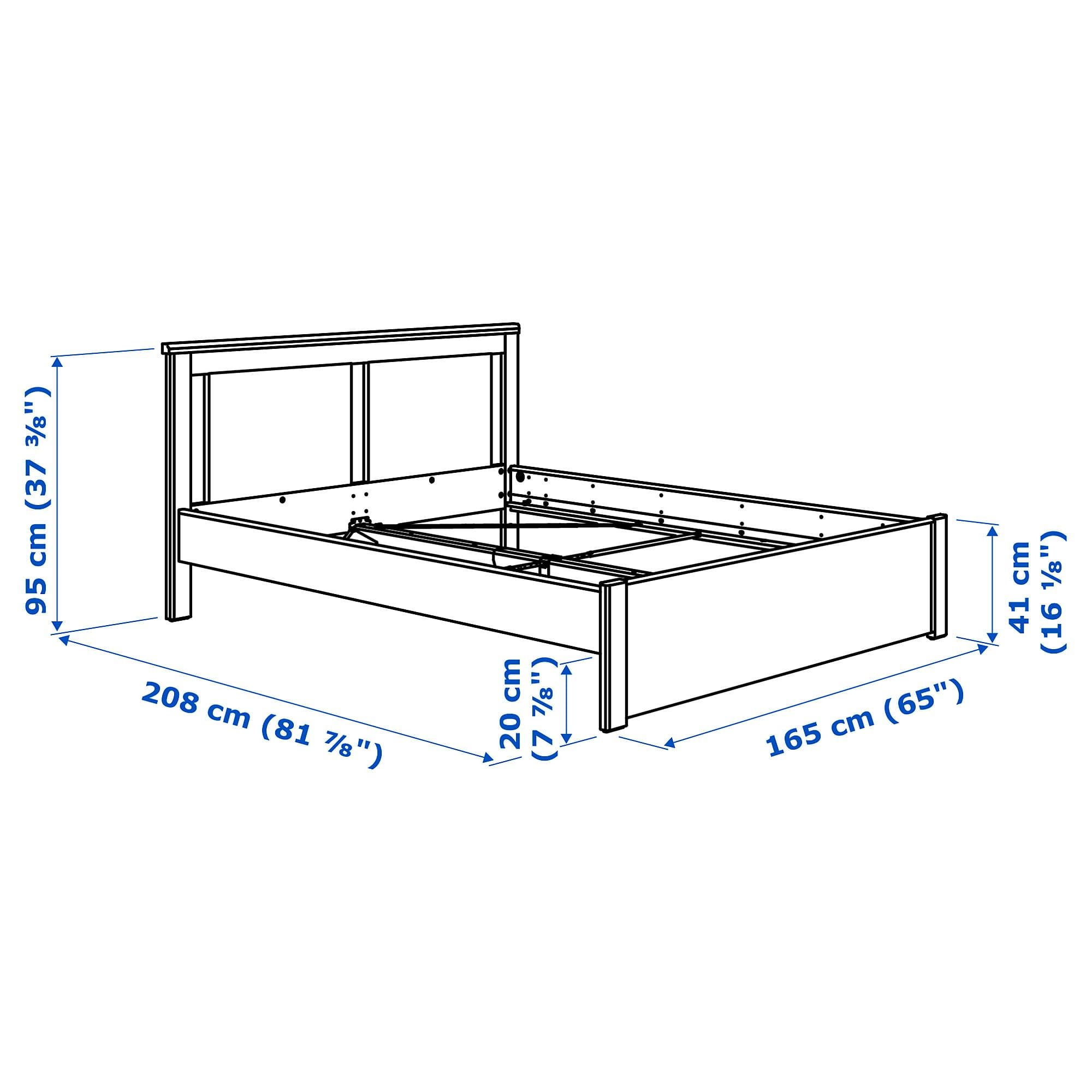 SONGESAND Bed frame white, Lönset Queen Bed frame