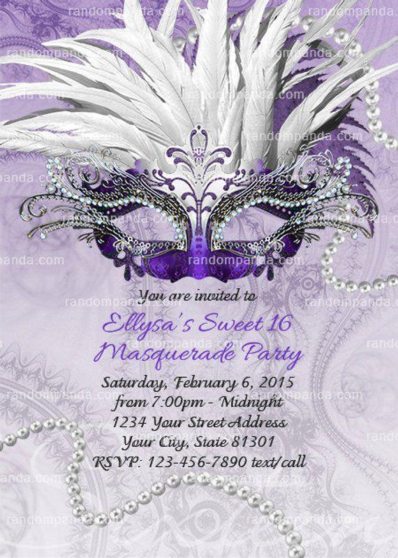 Masquerade Ball Invitation Purple Sweet 16 Party Quinceanera