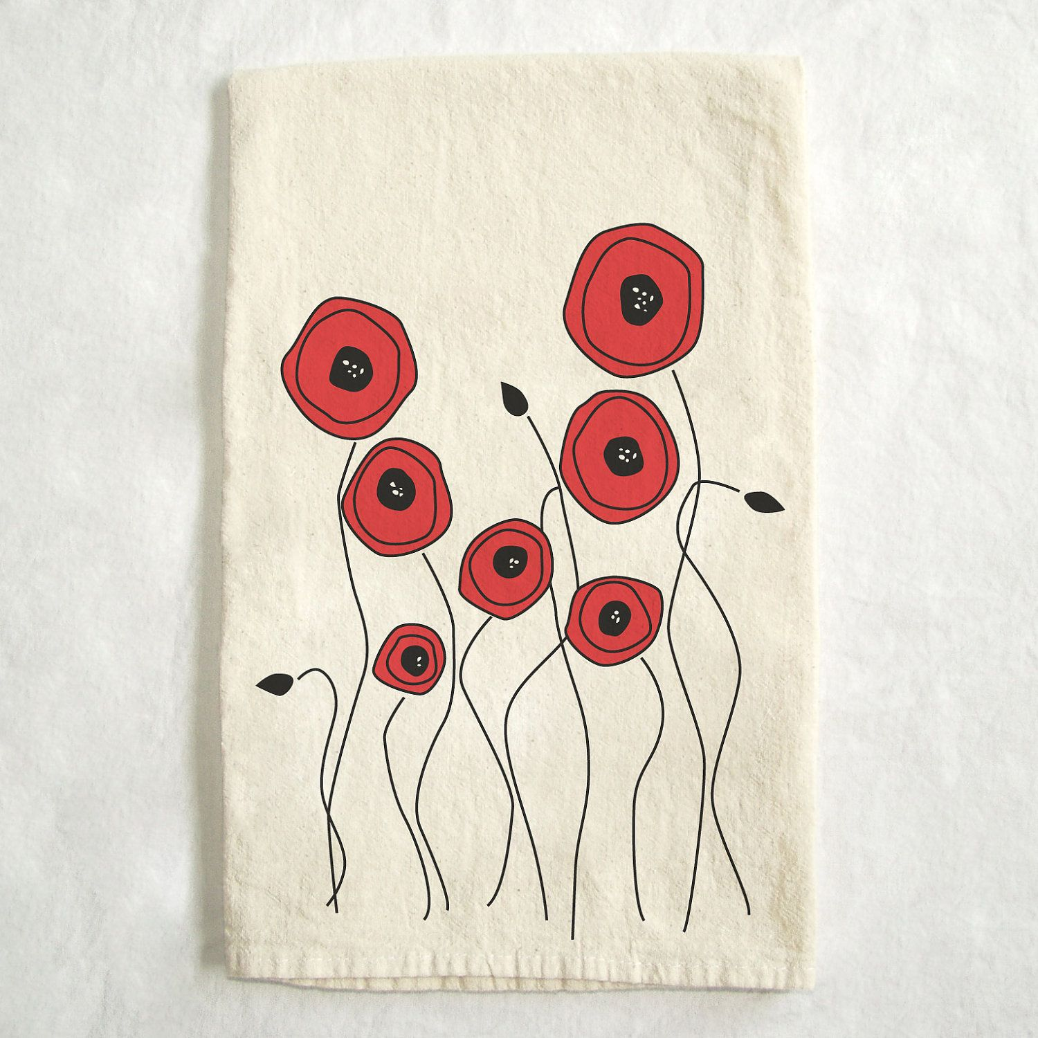 Red Poppies Poppy Flowers Screen Printed Natural Flour Sack Cotton