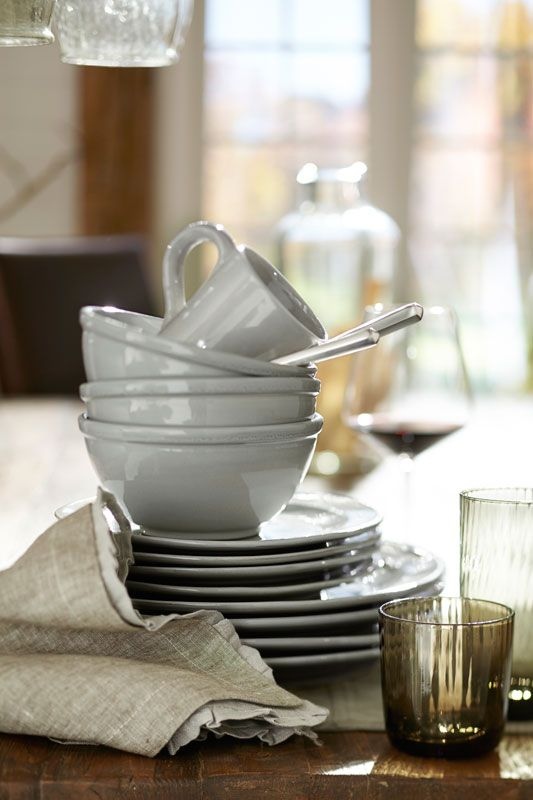 Hand-thrown in Portugal meet our Isabella Dinnerware. #potterybarn Gray plates? & Hand-thrown in Portugal meet our Isabella Dinnerware. #potterybarn ...