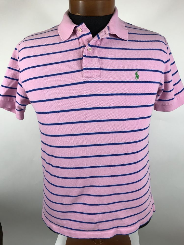 ad59924b6 Men POLO Ralph Lauren Pink  Blue Striped Short Sleeve Shirt. Size M 100%  Cotton  PoloRalphLauren  PoloRugby