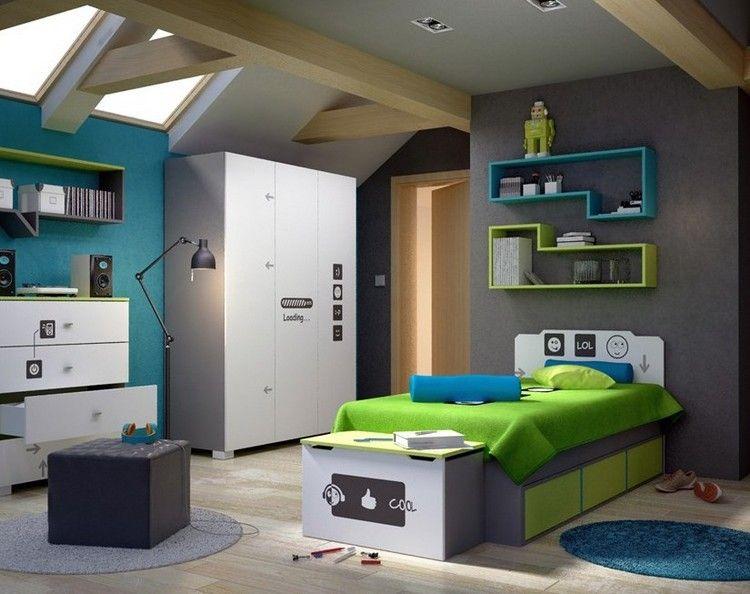 Babyzimmer wandgestaltung junge grün  Grau, Blau und Grün ist eine gute kombination für Jungs ...