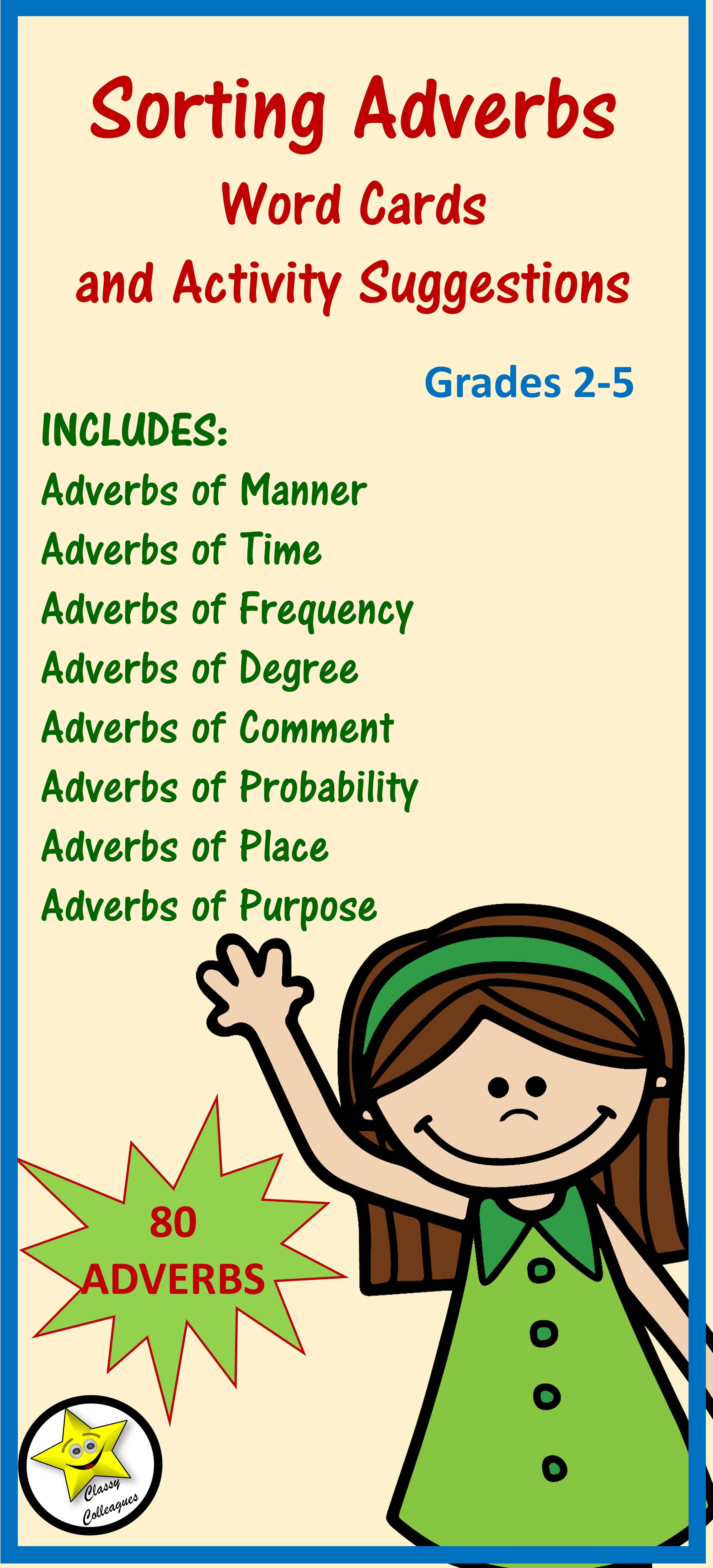 Adverbs Word Cards And Activities Adverbs English And English Grammar