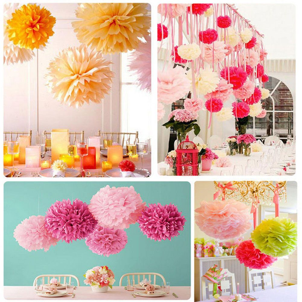New Wedding Party Hanging Tissue Paper Pom Lantern Peony Flower
