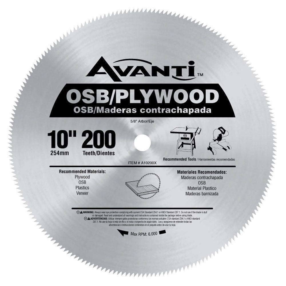 Avanti 10 In X 200 Teeth Osb Plywood Saw Blade A10200x The Home Depot Circular Saw Blades Osb Plywood Saw Blade