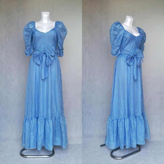 Ice Blue Prom Dress Vintage Frozen Costume Blue Maxi Gown ...