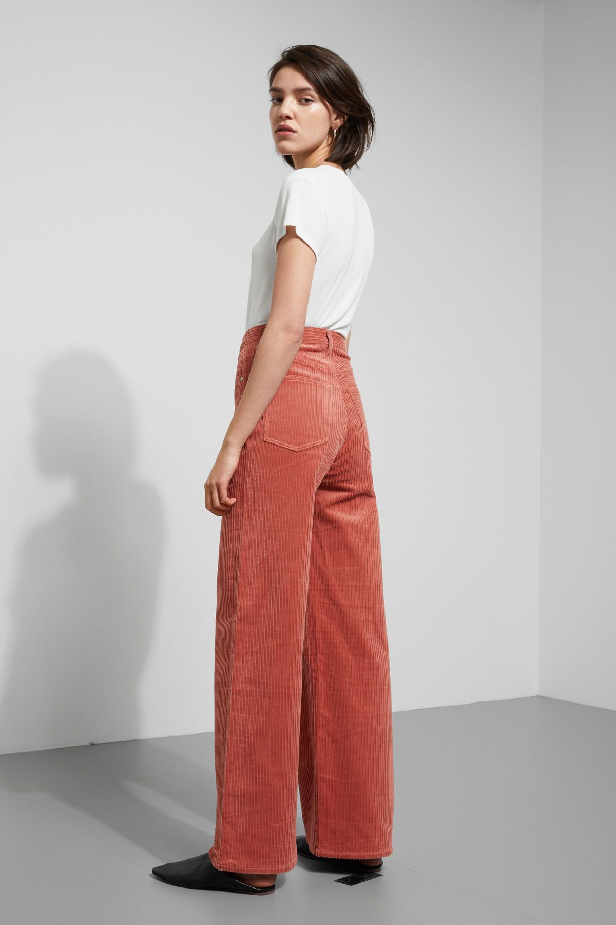 Model back image of Weekday ace corduroy trousers in pink ... 2055f15e36d0d