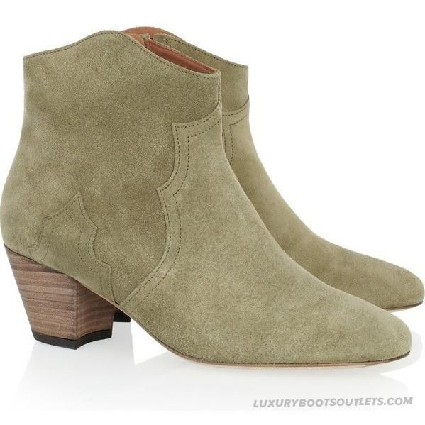 Isabel Marant Dicker Leather Suede Ankle Boots Green