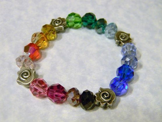 Rainbow Multicolor Crystal and Hamsa Stretch Bracelet