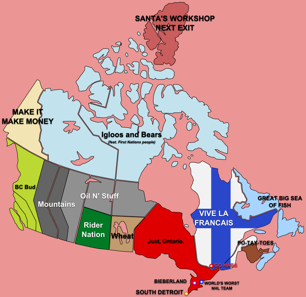 Funny Map Of Canada Canadian stereotypes map | Canada funny, Canadian humor, Canadian