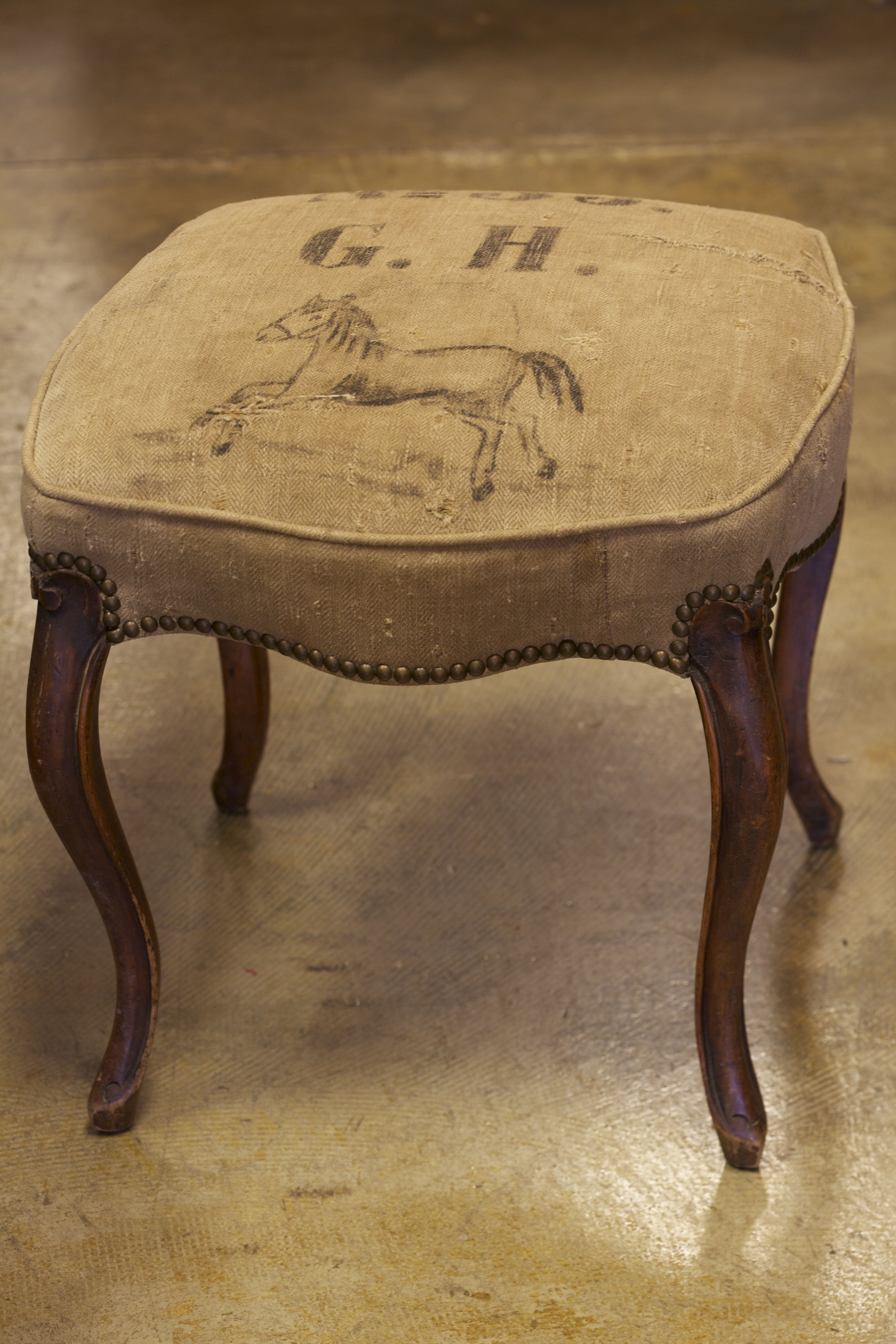 Superb Antique French Vanity Stool Recovered In Authentic Antique Machost Co Dining Chair Design Ideas Machostcouk