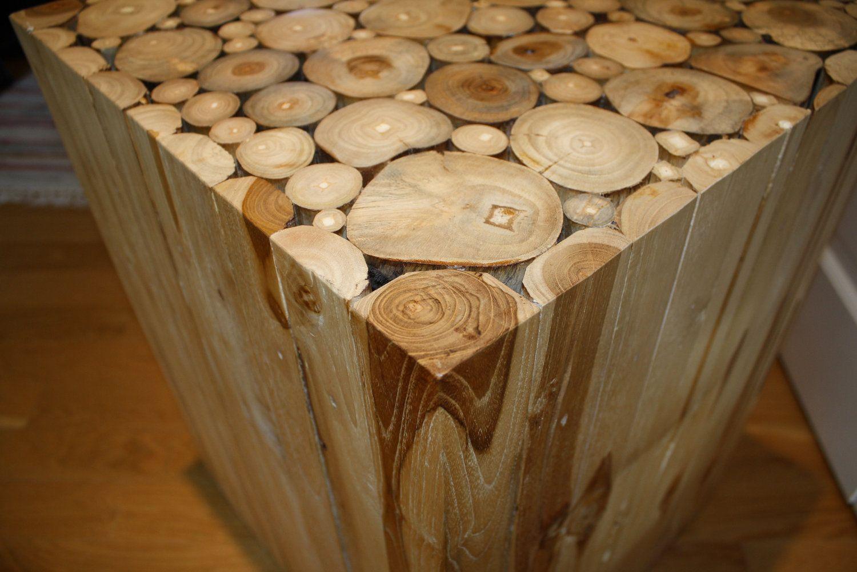 Unique vintage natural wood block side table wood cuts Alder wood. Unique vintage natural wood block side table wood cuts Alder wood