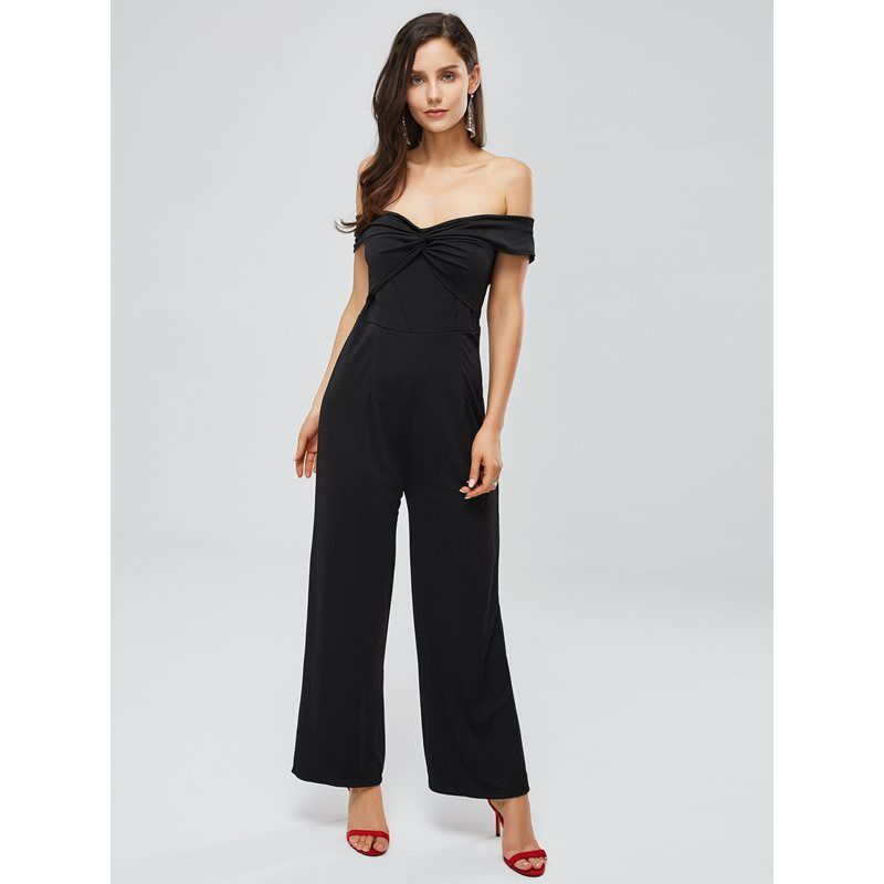 Off Shoulder Backless Pleated Womens Jumpsuit 3