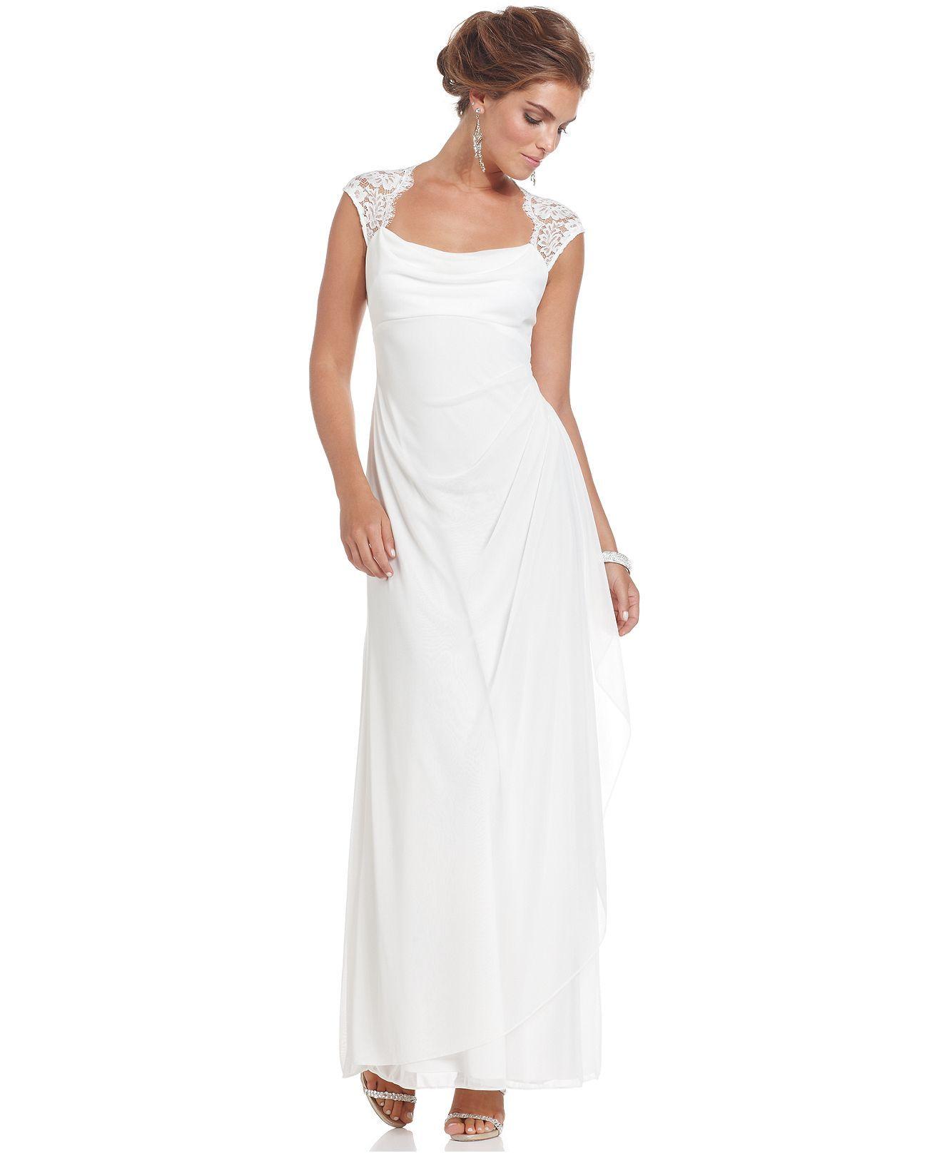 Xscape Dress, Cap-Sleeve Lace Evening Gown - Bridal Dresses - Women ...