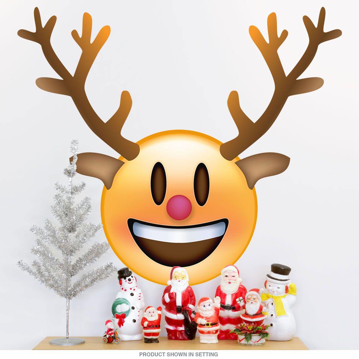 Emoji reindeer smiling face wall decal emoji wall decals emoji reindeer smiling face wall decal buycottarizona Images