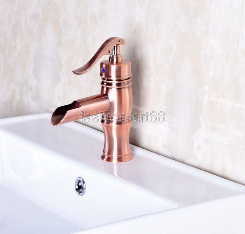60.00$  Watch here - http://alip8l.worldwells.pw/go.php?t=32668945118 - Vintage Retro Antique Red Copper Bathroom Waterfall Faucet Mixer Water Tap Single Handle Lever Bamboo Tap  anf244 60.00$