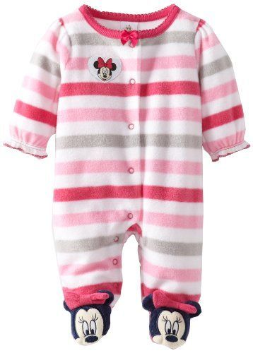08d918762 Disney Baby Baby-Girls Newborn Minnie Mouse Stripe Fleece Sleep and ...