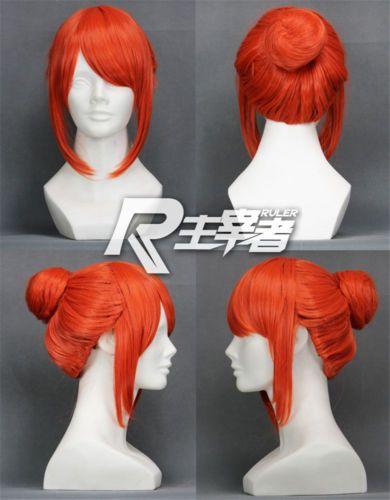 Photo of Gintama Kagura Pumpkin Orange Anime Bun Short Costume Cosplay Wig Free Ship +CAP    eBay