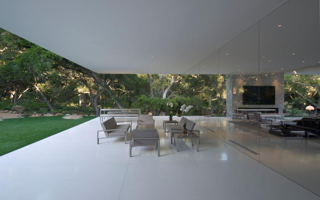 Living room luxury glass pavilion house by steve hermann california