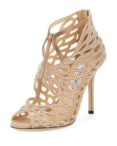 X2R4A Jimmy Choo Fyonn Strass Caged Bootie, Nude