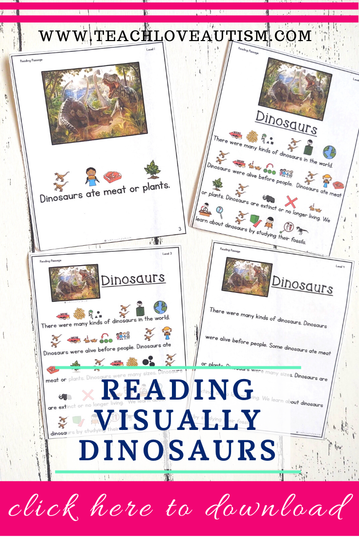 Reading Comprehension Freebie About Dinosaurs Teach Love Autism In 2021 Special Education Visual Special Education Reading Reading Comprehension [ 1102 x 735 Pixel ]