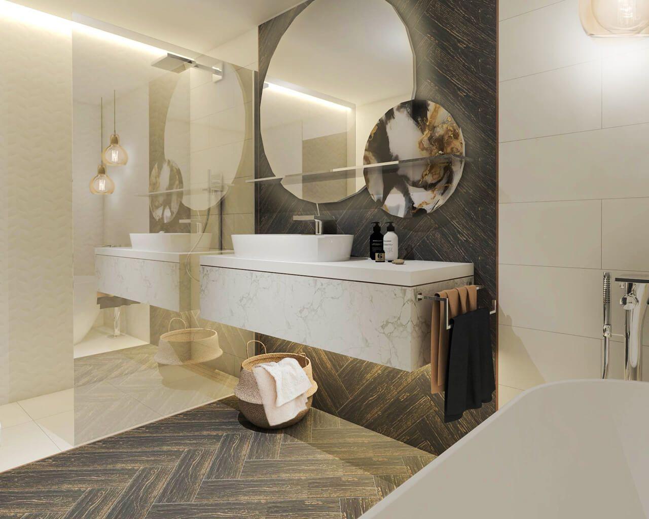 Propozycja Aranżacji łazienki W Prostym Stylu Z Lekką Nutą