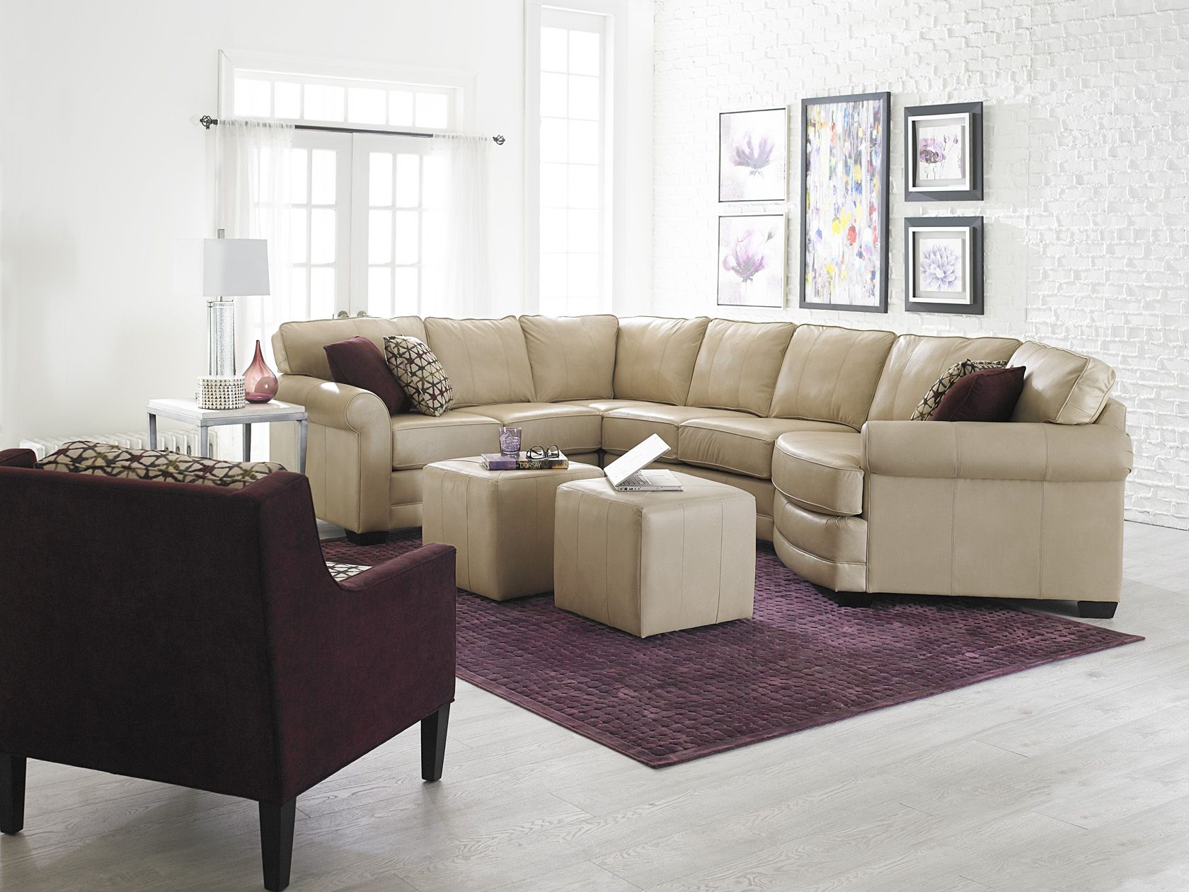 England Furniture Leather Sectional With Cuddler Seat The Cream And Plum Colour Scheme Offers A Fresh New Look