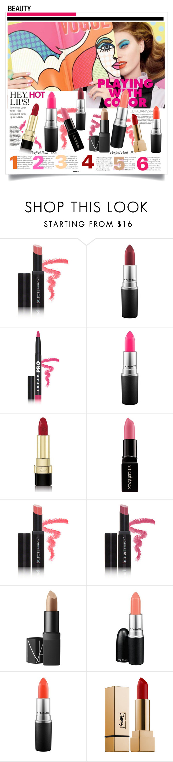 """""""Perfect Pout: Matte Lipstick - choose yours"""" by sofirose ❤ liked on Polyvore featuring beauty, Butter London, MAC Cosmetics, Dolce&Gabbana, Smashbox, NARS Cosmetics and Yves Saint Laurent"""
