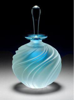 Carved Swirl Aqua Perfume Bottle