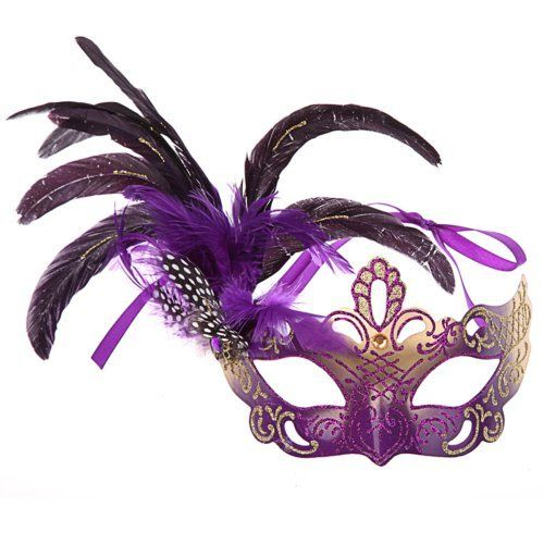 Eyemask Costume Accessory Purple and Silver Metal Masquerade Mask with Feather