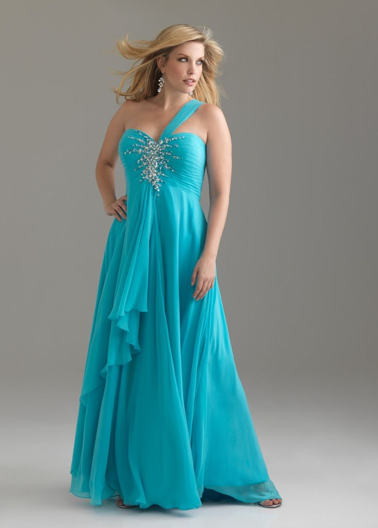 Free shipping on Night Moves by Allure 6376W blue one shoulder plus ...