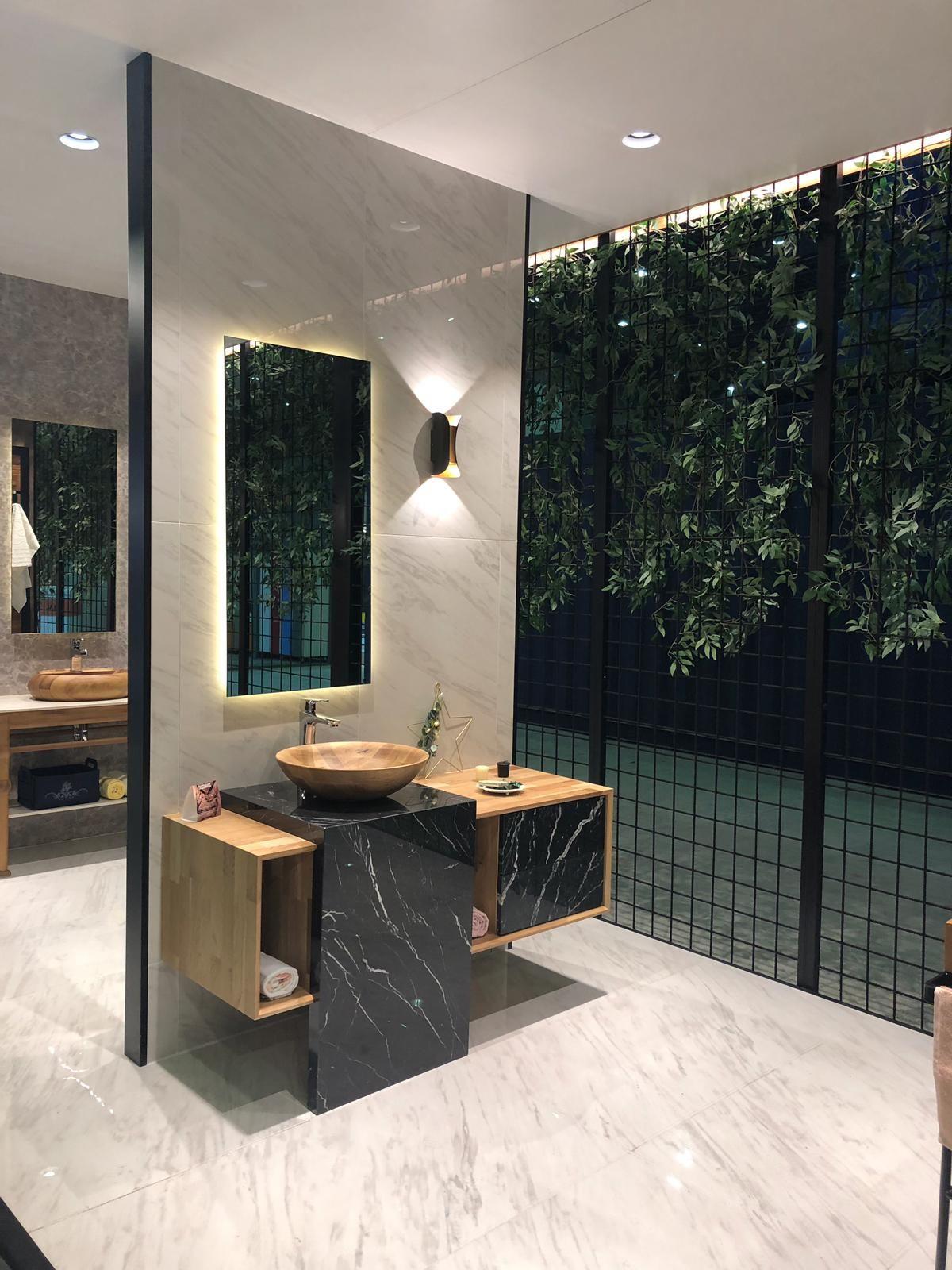 Decomass fair stand Wood Washbasin, bathroom design
