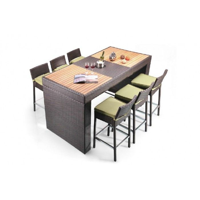 Pier Table and 6 Bar Stool Patio Bar Set