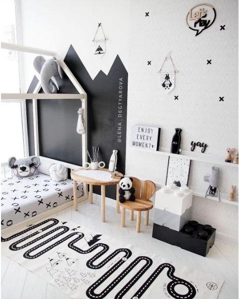 Habitación infantil en blanco y negro muy original y moderna con ...