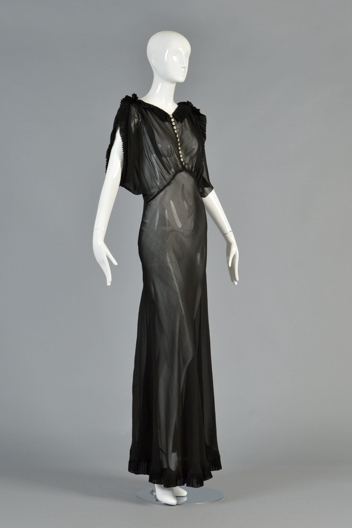 1930s Black Sheer Evening Gown W Open Draped Sleeves Bustown Modern Designer Evening Dresses Fashion Style [ 1799 x 1200 Pixel ]