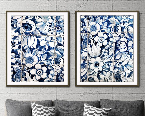 Blue And White Wall Art Lisbon Portuguese Tiles Print Etsy In 2021 White Wall Art Floral Wall Art Tile Wall Art