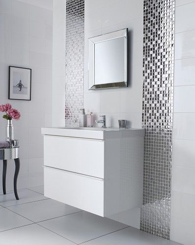Slate Silver Square Mosaic Topps Tiles White Bathroom Tiles Bathroom Tile Designs Mosaic Bathroom
