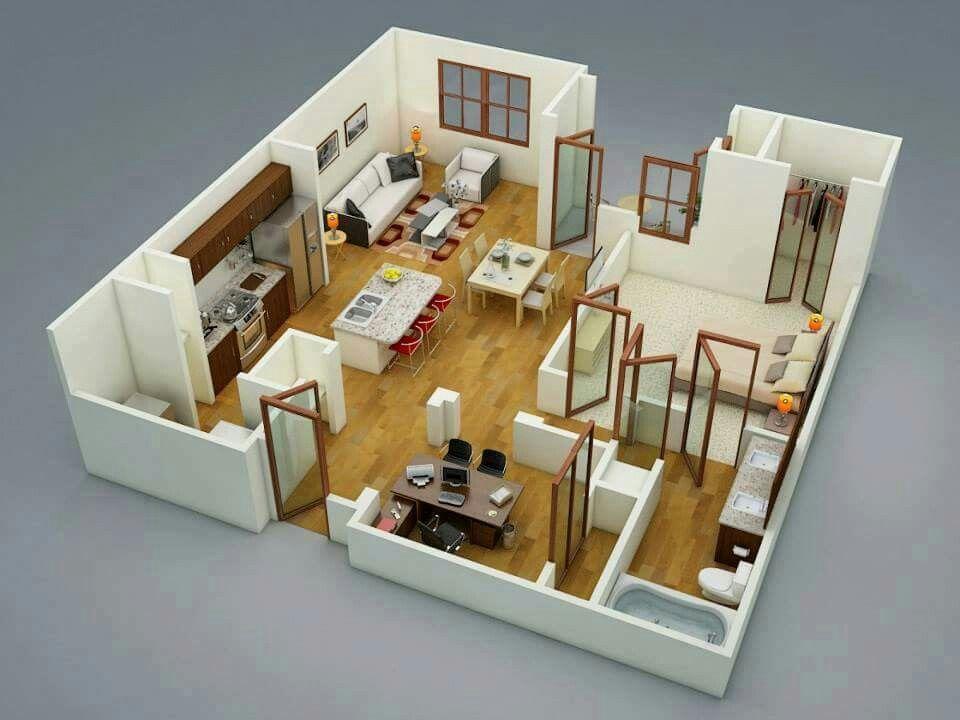 Haus Grundrisse, Architektur, Großes Schlafzimmer, 2 Schlafzimmer Hauspläne,  Wohnungsgrundrisse, Moderne Küchen, Zeitgenössisches Apartment, ...