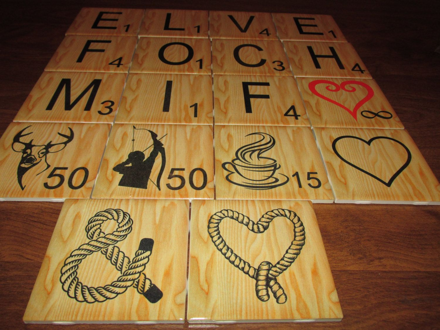 Decorative Tile Board Personalized Large Scrabble Letters Wall Art Ceramic 4X4 Custom