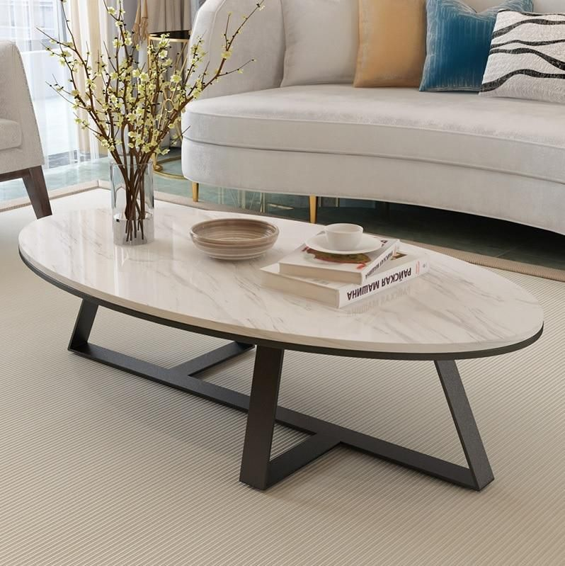 Oval Marble Coffee Table Top Gold Black Elitehomeimage With