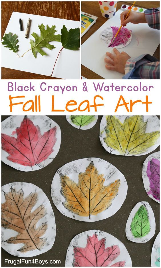 Gorgeous Black Crayon and Watercolor Fall Leaf Art #leafcrafts